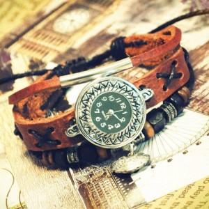 wristwatch_handmade_wrist_watches_vintage_retro_ladies_girls_womens_mens_leather_bangle_beaded_bracelet_quartz_lucky_lock_pendant_ga0014__b565608b